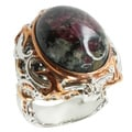 Michael Valitutti Two-tone Eudialyte and Black Diamond Ring