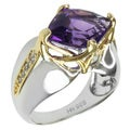 Michael Valitutti Two-tone Fancy-cut Amethyst and White Sapphire Ring