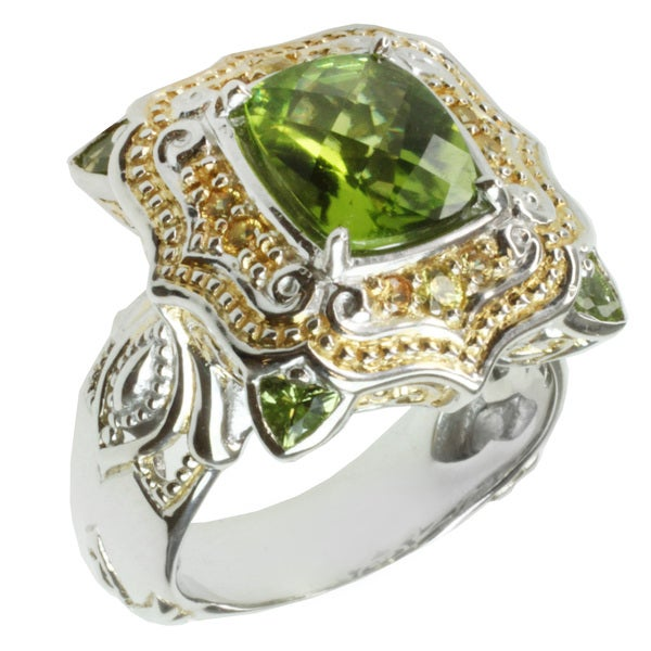 Michael Valitutti Two-tone Peridot and Yellow Sapphire Ring