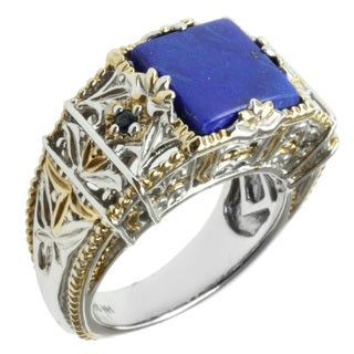 Michael Valitutti Two-tone Lapis and Blue Sapphire Ring