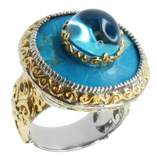 Michael Valitutti Two-tone Howlite, Swiss Blue Topaz and Sapphire Ring