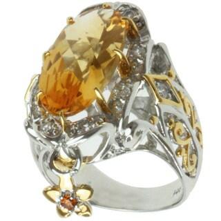 Michael Valitutti Two-tone Citrine, Spessartite and White Sapphire Ring