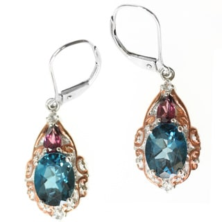 Michael Valitutti Two-tone Blue Topaz, Rhodolite and Sapphire Earrings