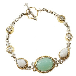 Michael Valitutti Two-tone Blue Onyx, White Opal and Sapphire Bracelet