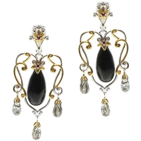 Michael Valitutti Two-tone Black Spinel, Quartz and Ruby Earrings