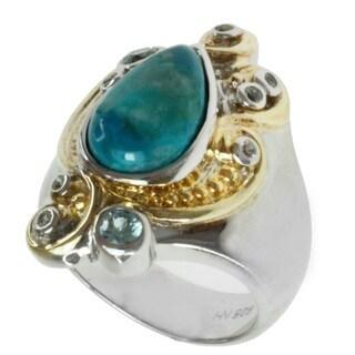 Michael Valitutti Two-tone Chrysocolla, Blue Zircon and Sapphire Ring