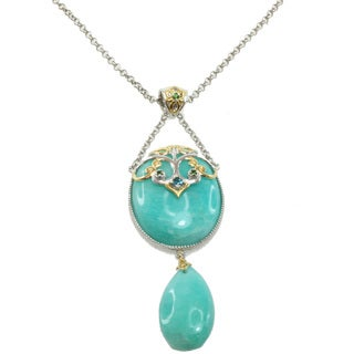 Michael Valitutti Two-tone Amazonite, Blue Topaz and Chrome Diopside Necklace