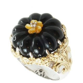 Michael Valitutti Two-tone Black Agate, Shell and Yellow Sapphire Ring