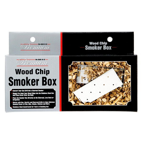 Mr. Bar-B-Q Premium Stainless Steel Barbecue Accessories Wood Chip Smoker Box with Lid