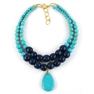 Pretty Little Style Turquoise Pendant Statement Necklace