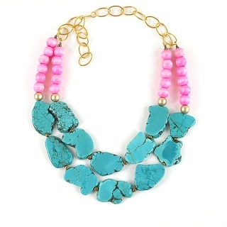 Pretty Little Style Goldtone Turquoise Statement Necklace