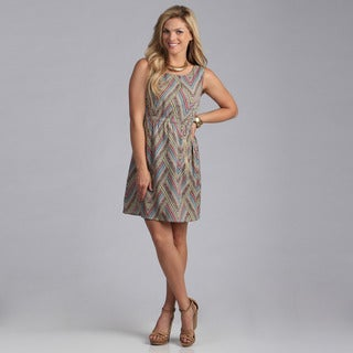 Just Funky Chevron Dress With Zipper Pockets