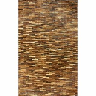 nuLOOM Handmade Geometric Brown Cowhide Rug (7'6 x 9'6)