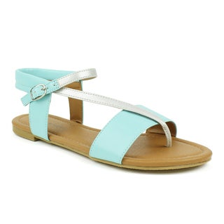 Mark & Maddux Women's 'Paul-03' Teal Strappy Flat Sandals