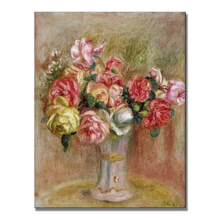 Pierre Renoir 'Roses in a Sevres vase' Canvas Art