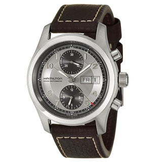 Hamilton Men's 'Khaki Field' Leather Strap Swiss Automatic Watch