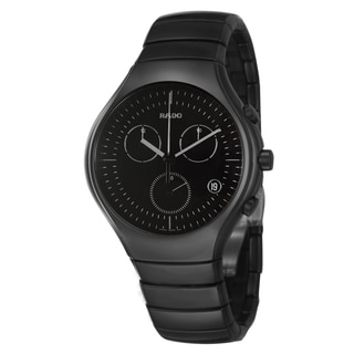 Rado Men's 'Rado True' Black Ceramic Swiss Quartz Chronograph Watch