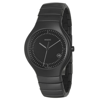 Rado Men's 'Rado True' Black Water-resistant Ceramic Swiss Quartz Watch