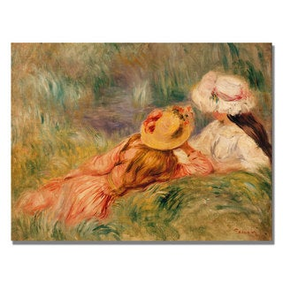 Pierre Renoir 'Young Girls by the Water' Canvas Art