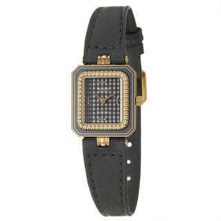 Rado Women's 'Florence' Yellow Gold PVD-Coated Steel Swiss Quartz Black Leather Watch