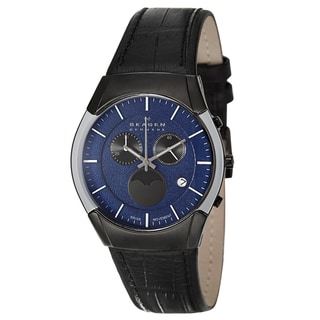Skagen Men's 'Leather' Black Stainless Steel Watch