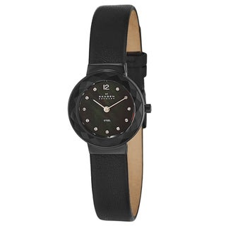 Skagen Women's 'Leather' Black Stainless Steel Watch