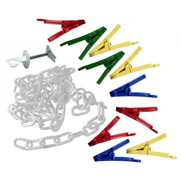 Toy Tech Chain Gang Organizer with Translucent Chain and 20 Assorted Color Clips