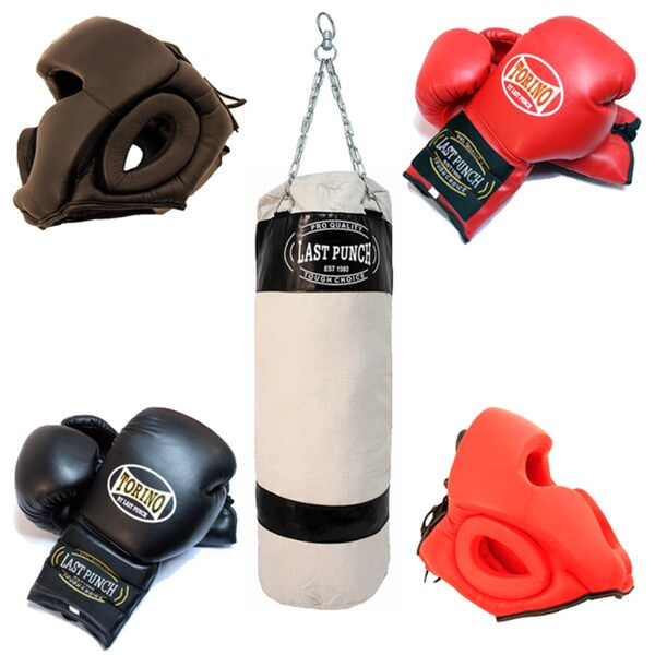 Defender 2 Pairs Of Head Gear / Black Heavy Duty Canvas Punching Bag 2 Pairs of Pro Torino Boxing Gloves
