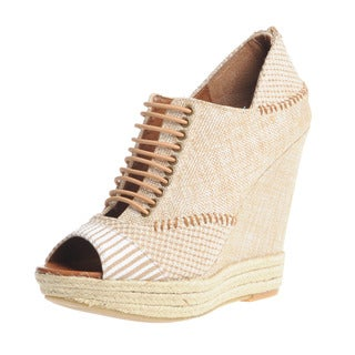 Chinese Laundry Women's Woven Peep Toe Lace-up Wedges