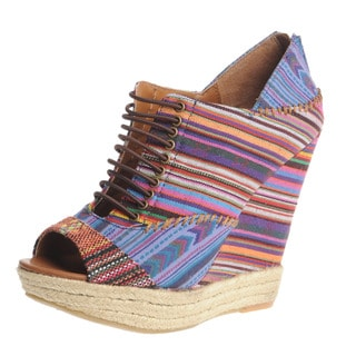 Chinese Laundry Women's Navajo Woven Peep Toe Lace-up Wedges