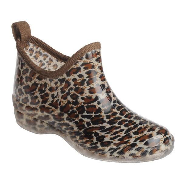 Henry Ferrera Women's Leopard-Print Rain Ankle Booties