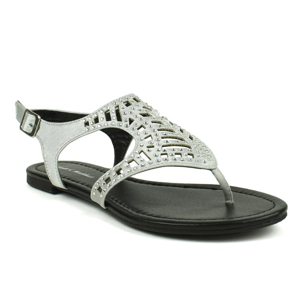 Mark & Maddux Women's 'Tyson-03' Rhinestone Studded Sandals