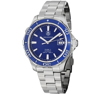 Tag Heuer Men's WAK2111.BA0830 'Aquaracer 500' Blue Dial Stainless Steel Watch