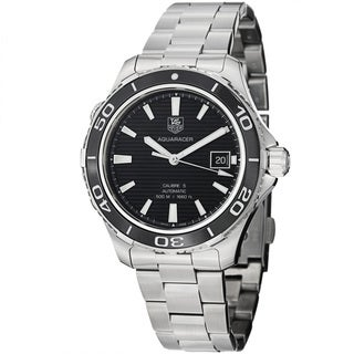 Tag Heuer Men's WAK2110.BA0830 'Aquaracer 500' Black Dial Stainless Steel Watch