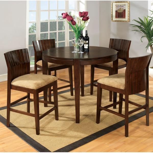 Furniture Of America Walnut Finish 5 Piece Dining Set