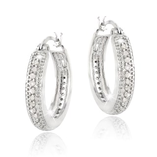 DB Designs Silvertone 1/2ct TDW Diamond Hoop Earrings (I-J, I2-I3)