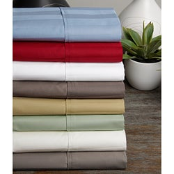 Egyptian Cotton Wrinkle Resistant 500 Thread Count Damask Stripe Sheet Set