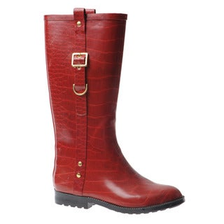 Henry Ferrera Women's Equestrian Red Mid-Calf Rain Boots
