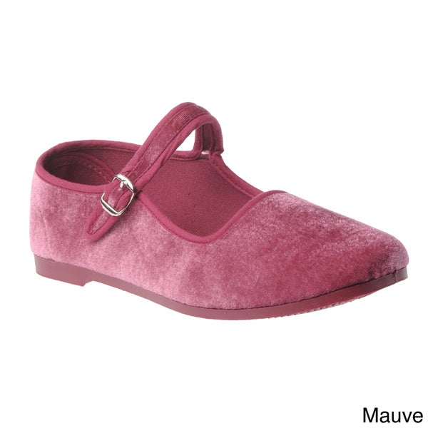 On Your Feet Women's Velvet Mary Jane Flats