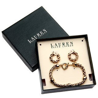 Ralph Lauren Goldtone Braided Bracelet and Small Hoop Earrings with Gift Box
