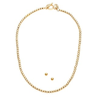 Ralph Lauren Goldtone 4mm Toggle Necklace with 4mm Earring Set with Gift Box