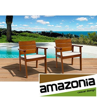 Eucalyptus Wood Set of 2 Deluxe Arm Chairs