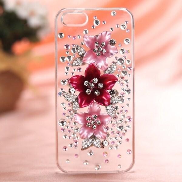 INSTEN Hot Pink Starburst Bloom 3D Diamante Phone Case Cover for Apple iPhone 5