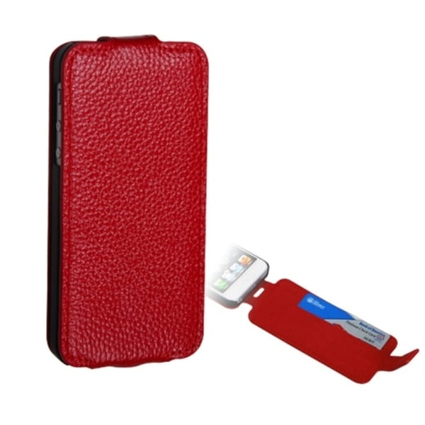 INSTEN Premium Red Wallet/ Card Slot for Apple iPhone 5