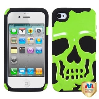 BasAcc Pearl Green/ Black Skullcap Hybrid Case for Apple iPhone 4S/ 4