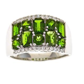 D'Yach Sterling Silver Chrome Diopside and White Zircon Ring