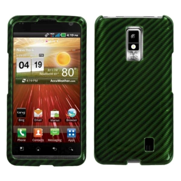 INSTEN Racing Fiber/ Dark Green 2D Silver Phone Case Cover for LG VS920 Spectrum
