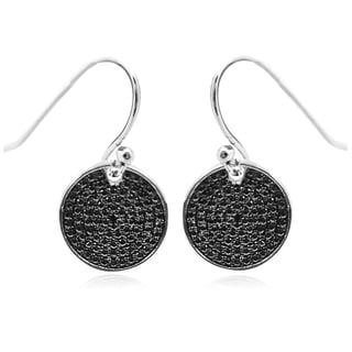 Sterling Silver Pave Circle Black Diamond Earrings