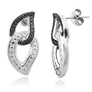 De Buman Sterling Silver Black Diamond Earrings