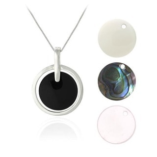 Glitzy Rocks Sterling Silver Interchangeable Gemstone Necklace Set